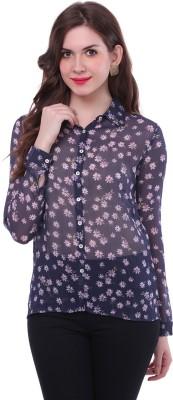 Colors Couture Women's Floral Print Casual Blue Shirt