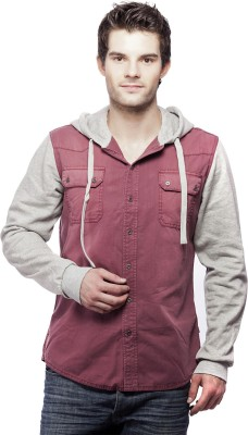 St. Goliath Men's Solid Casual Maroon Shirt