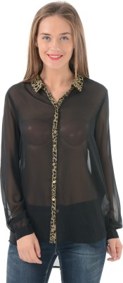 Only Womens Solid Casual Black Shirt