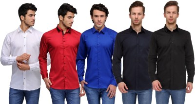 Feed Up Men's Solid Casual White, Red, Blue, Dark Blue, Black Shirt
