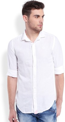 mike and smith Men,s Solid Casual White Shirt