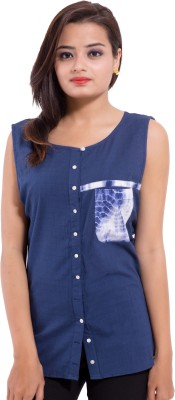 Avon Apparels Women's Solid Casual Blue Shirt