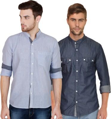 Chalk Factory Men's Solid, Striped Casual Denim Blue Shirt