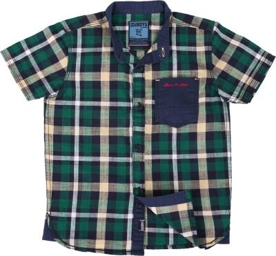Ice Boys Boy's Checkered Casual Green, Blue Shirt
