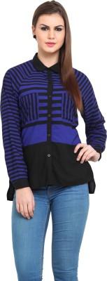 Sweet Lemon Women's Striped Casual Black, Blue Shirt