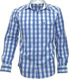 Darium Men's Checkered Casual White, Blu...