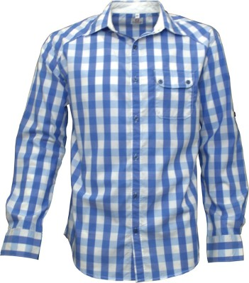 Darium Men's Checkered Casual White, Blue Shirt