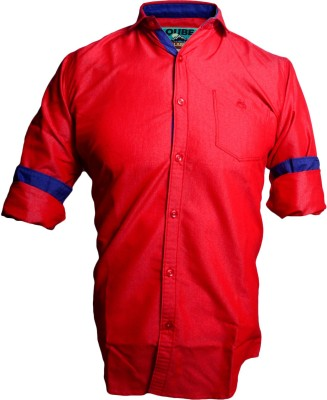 QUBE Men's Solid Casual Red Shirt