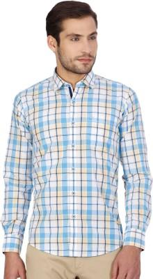 Monte Carlo Men's Checkered Casual Yellow, Blue Shirt