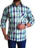 Solen Men's Checkered Casual Green Shirt