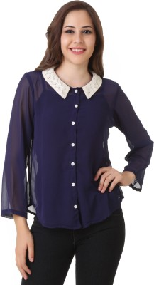Big Pout Women's Solid Formal Dark Blue Shirt