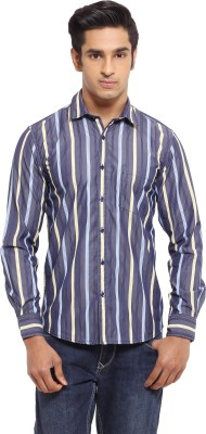 I-Voc Men,s Striped Casual Dark Blue, Yellow Shirt