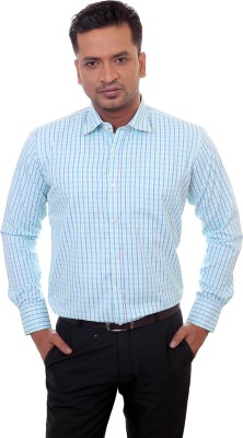 Countryside Men's Checkered Formal Green, Blue Shirt