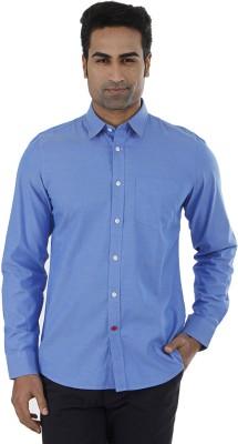 London Fog Men,s Solid Casual Blue Shirt