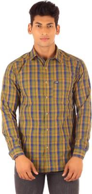 FA French America Men's Checkered Casual Yellow Shirt