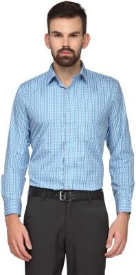 English Navy Men's Checkered Formal Blue Shirt