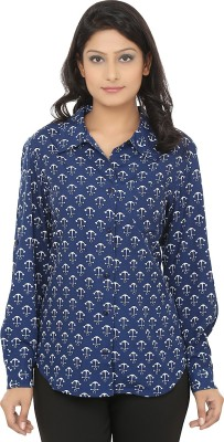 Naisha Women's Printed Casual White, Blue Shirt