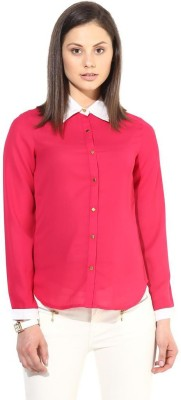 The Vanca Women's Solid Formal Pink Shirt
