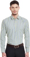 English Navy Formal Shirts (Men's) - English Navy Men's Checkered Formal Light Green Shirt