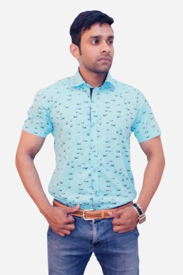 Winsome Deal Men's Printed Casual Blue Shirt