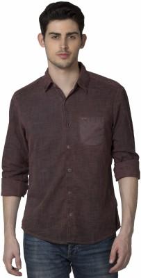 XARO Men's Self Design Casual Brown Shirt