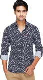 Kiez Men's Printed Casual Blue Shirt