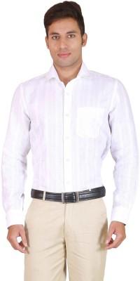 Willmohr Men's Striped Formal Linen White Shirt