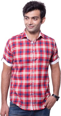 Sieko Nation Men's Checkered Casual Red Shirt