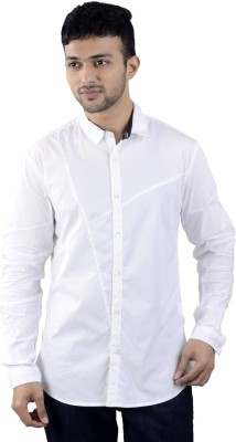 St. Germain Men's Solid Party White Shirt