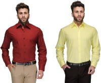 James Formal Shirts (Men's) - james Men's Solid Formal Red, Yellow Shirt(Pack of 2)