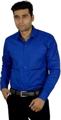 Studio Nexx Men's Solid, Striped Formal Dark Blue Shirt