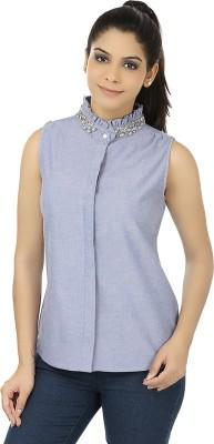 Elmo Women's Self Design Casual Blue Shirt