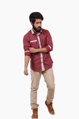 Fadjuice Men's Polka Print Casual Maroon Shirt