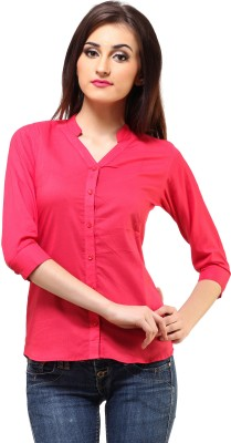 Cation Women's Solid Formal Pink Shirt at flipkart
