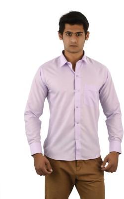Aurus Men's Solid Formal Pink Shirt