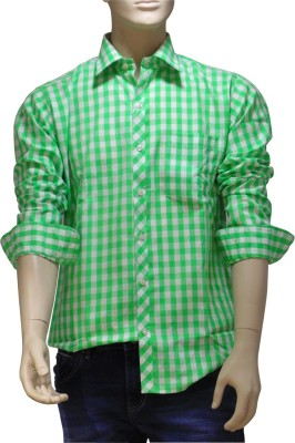 EXIN Fashion Men's Checkered Formal Green, White Shirt