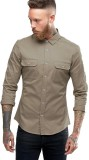 Essential Men's Solid Casual Brown Shirt