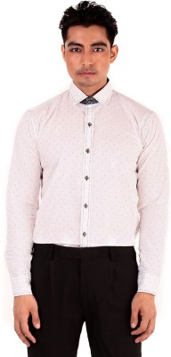 The G Street Men's Polka Print Casual White Shirt