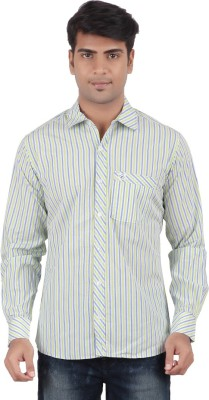 Anytime Men's Striped Casual Light Green Shirt