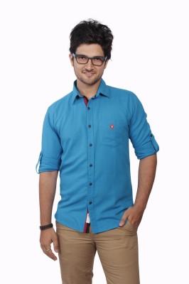 Ecohawk Men's Solid Casual Linen Light Blue Shirt