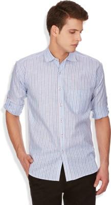Blue Fire Men's Striped Casual Blue Shirt