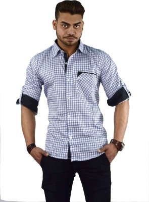 Your Desire Shirts Men's Checkered Casual White, Blue Shirt