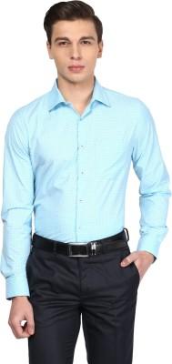 London Bridge Men's Printed Formal Blue Shirt