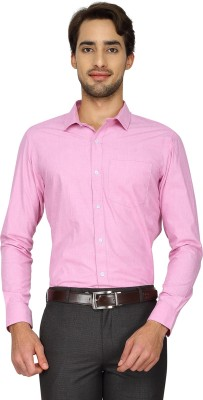 Cotton Power Men's Solid Formal Pink Shirt