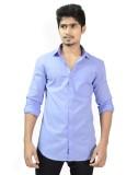 Hueman Men's Solid Casual Blue Shirt
