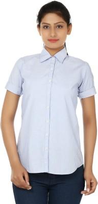 UrSense Women's Striped Casual Blue Shirt