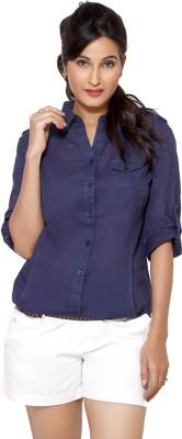 Loco En Cabeza Women's Solid Casual Dark Blue Shirt