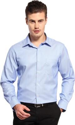 FX Jeans Co Men's Self Design Formal Blue Shirt