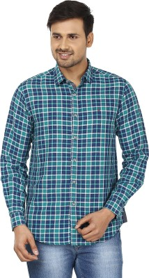 Wills Lifestyle Men's Checkered Casual Green, Blue Shirt