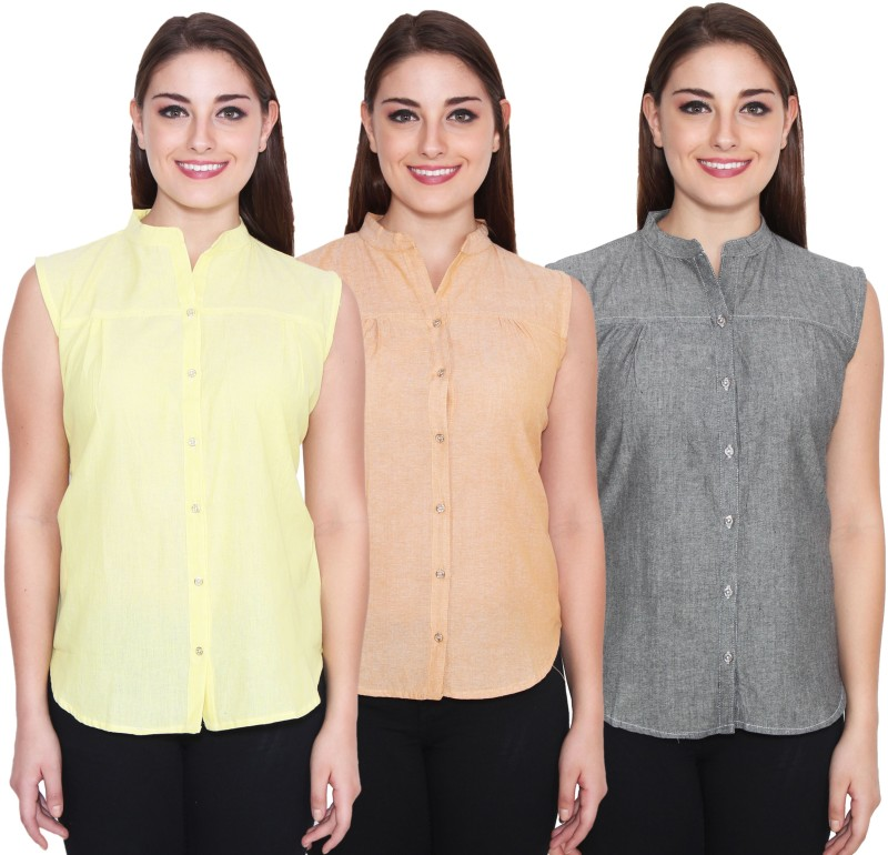 NumBrave Women's Solid Casual Yellow, Beige, Grey Shirt(Pack of 3)